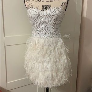 Bebe White Feather Sequin Dress